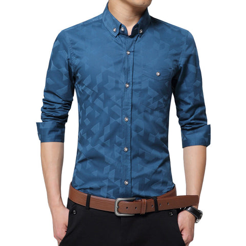 Long Sleeve Jacquard Weave Slim Fit Men's  Shirt  (Available in 3 colors)
