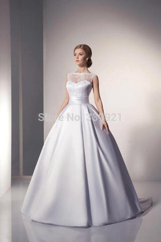 Elegant  Bridal Gowns Scoop Ivory White Satin Princess