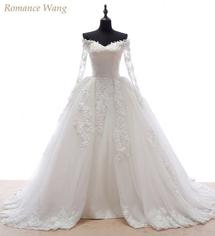 Ball Gown  With Long Sleeves Detachable Skirts Robe  Bridal Gowns