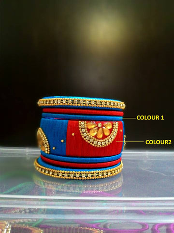 Red and Blue Designer Silk Thread Bangles