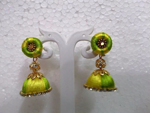 Yellow and Green Silk Thread Jhumkas