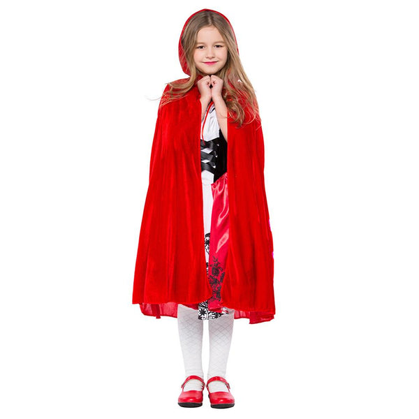 Kids Girls Little Red Riding Hood Dress Party Uniform Costume Halloween Costume Outfit