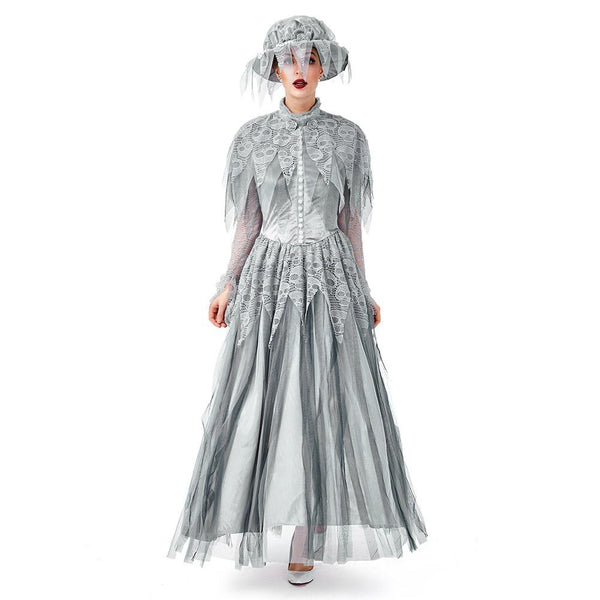 Women Halloween Dresses Vintage Classical Slim Cosplay Ghost Bride Gothic Costume Party Carnival Dress