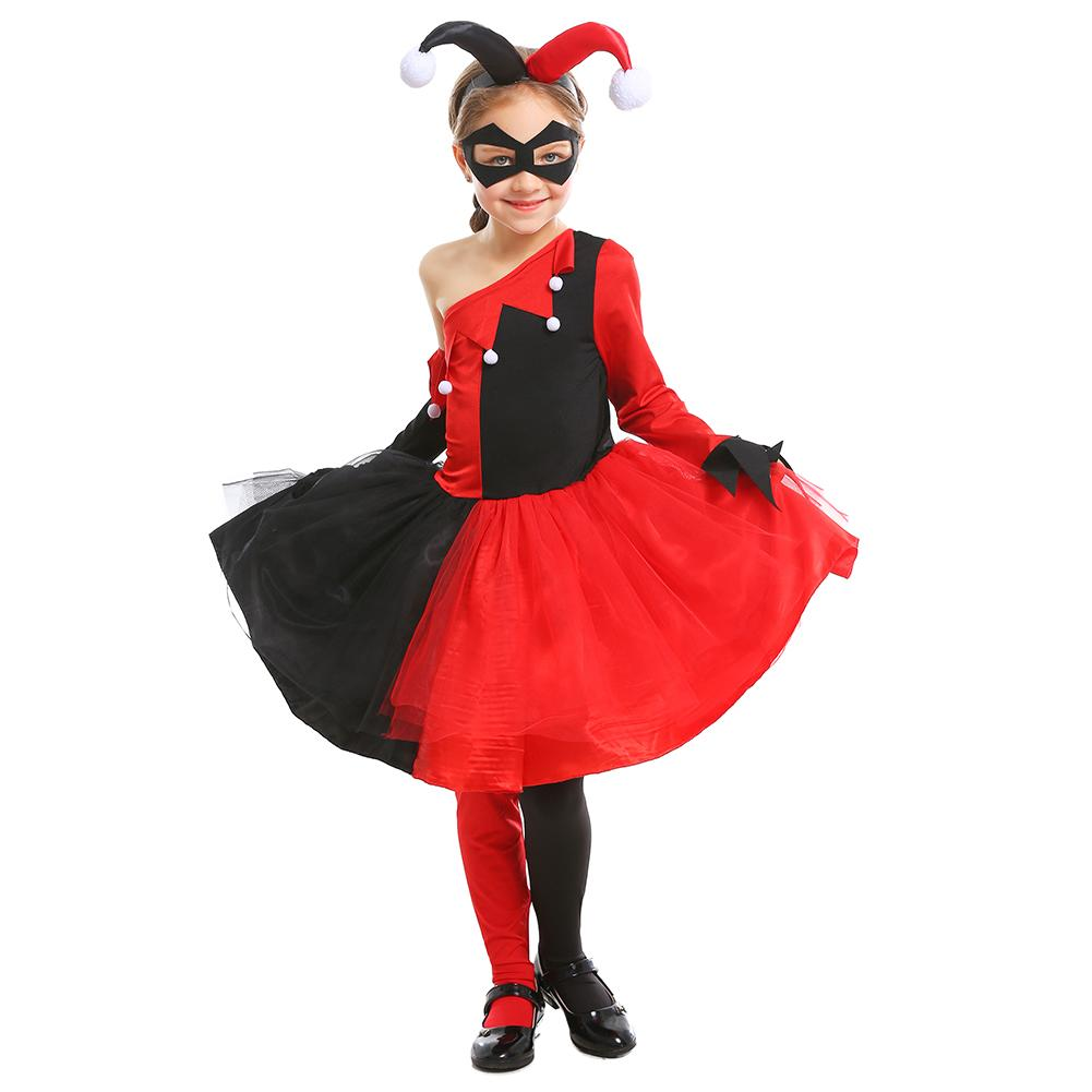 Kids Girls Suicide Squad Joker Harley Quinn Cosplay Costume Halloween Costumes Clown Costume Carnival Party Costume
