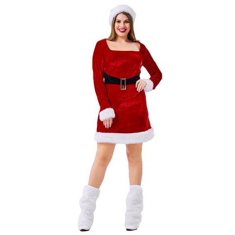 Women Plus Size Christmas Red Velvet Dress Long Sleeve Square Collar Mini Dress Santa Claus Cosplay Fancy Dress
