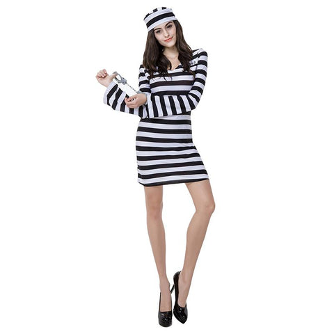 Women Scary Zombie Prisoner Jailbird Costume Black White Striped Halloween Purim Costumes Fancy Dress