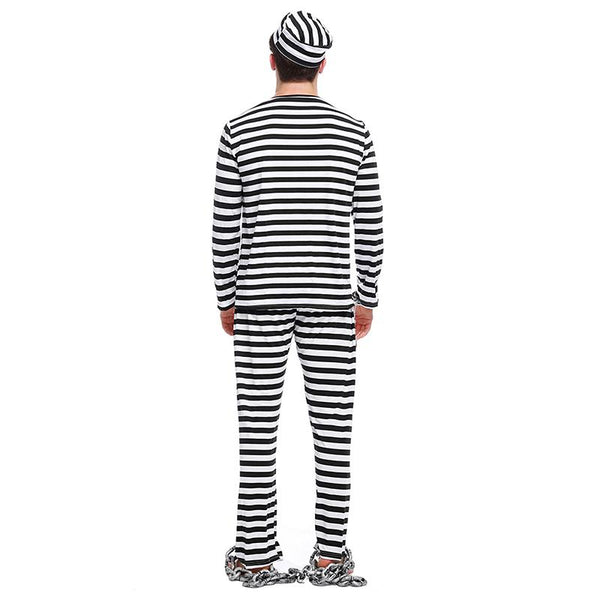 Men Scary Zombie Prisoner Jailbird Costume Black White Striped Halloween Purim Costumes Fancy Dress