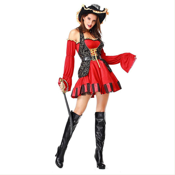 Women Pirate Costumes Performance Sexy Adult Halloween Costume Cosplay Fancy Buccaneer Captain Pirate Dress