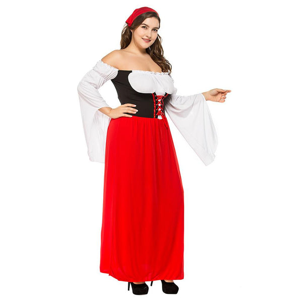 Plus Size Women Sexy German Beer Girl Costumes Bavarian Oktoberfest Costumes Adult Beer Maid Fancy Long Dress