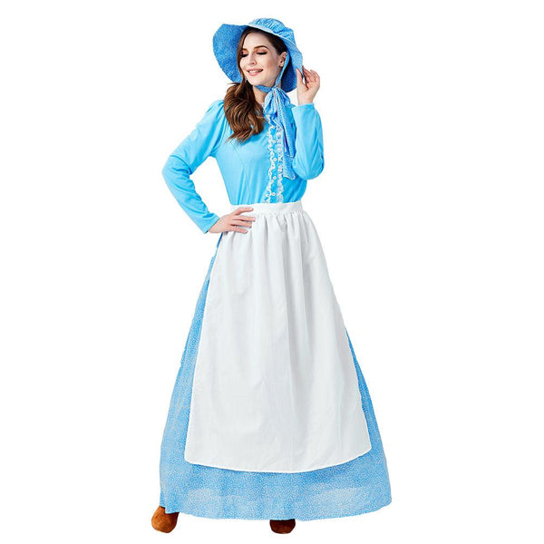 Women Halloween Idyllic Farm Apron Maid Costume Pioneer Cosplay Blue Fancy Dress