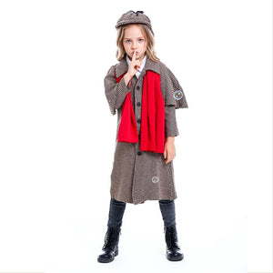 Kids Sherlock Holmes Costume Boys Girls Detective Cosplay Outfit Halloween Victorian Button Down Jacket Outfit