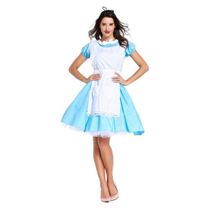 Women Halloween Alice in Wonderland Cosplay Costume Lolita Dresses Maid Apron Dress Maid Outfit