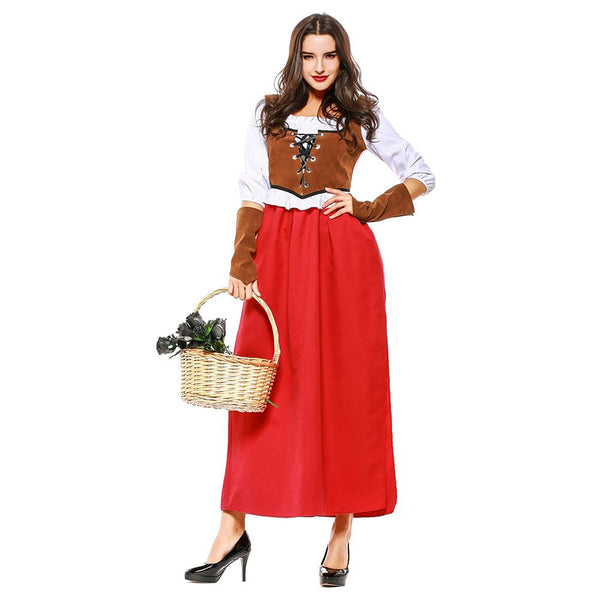 Women Halloween Little Red Riding Hood Peasant Costume Female Medieval Renaissance Outfit Set