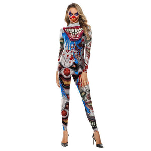 Women Horror Clown Costume Bodysuit Halloween Cosplay Scare Clown Print Creepy Zentai Jumpsuit