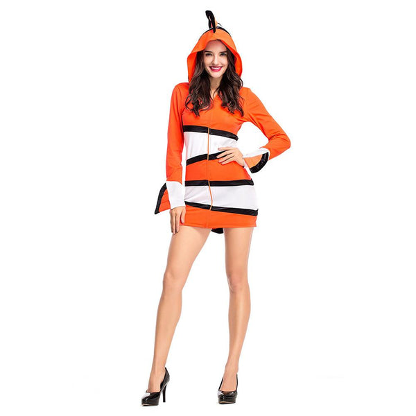 Women Halloween Party Finding Nemo Clown Fish Carnival Fancy Dresses Camouflage Costumes Outfits