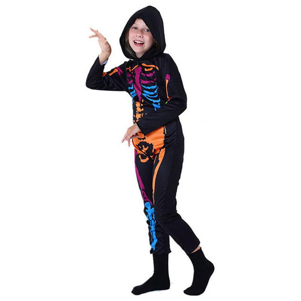 Kids Halloween Skeleton Print Jumpsuit Party Night Luminous Outfit Carnival Theme Party Stage Performance Costume