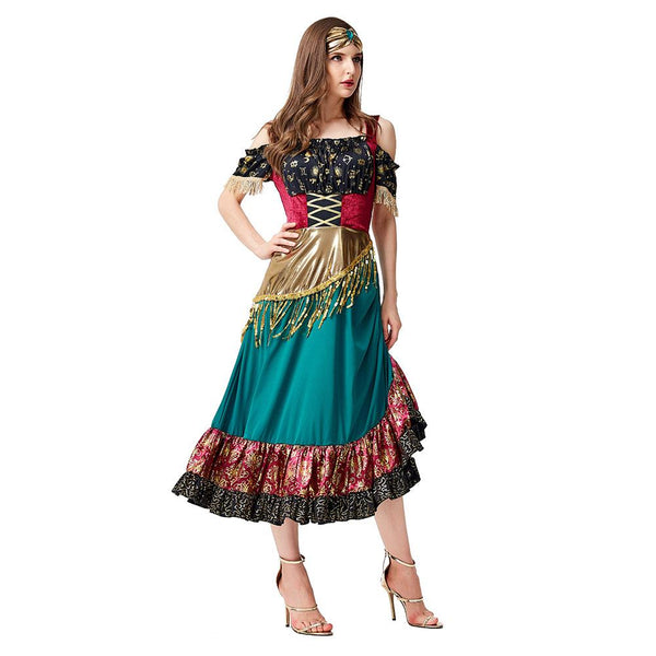 Women Fantasia Purim Halloween Costumes Starlight Gypsy Fortune Teller Costume Flamenco Dancer Cosplay Dress