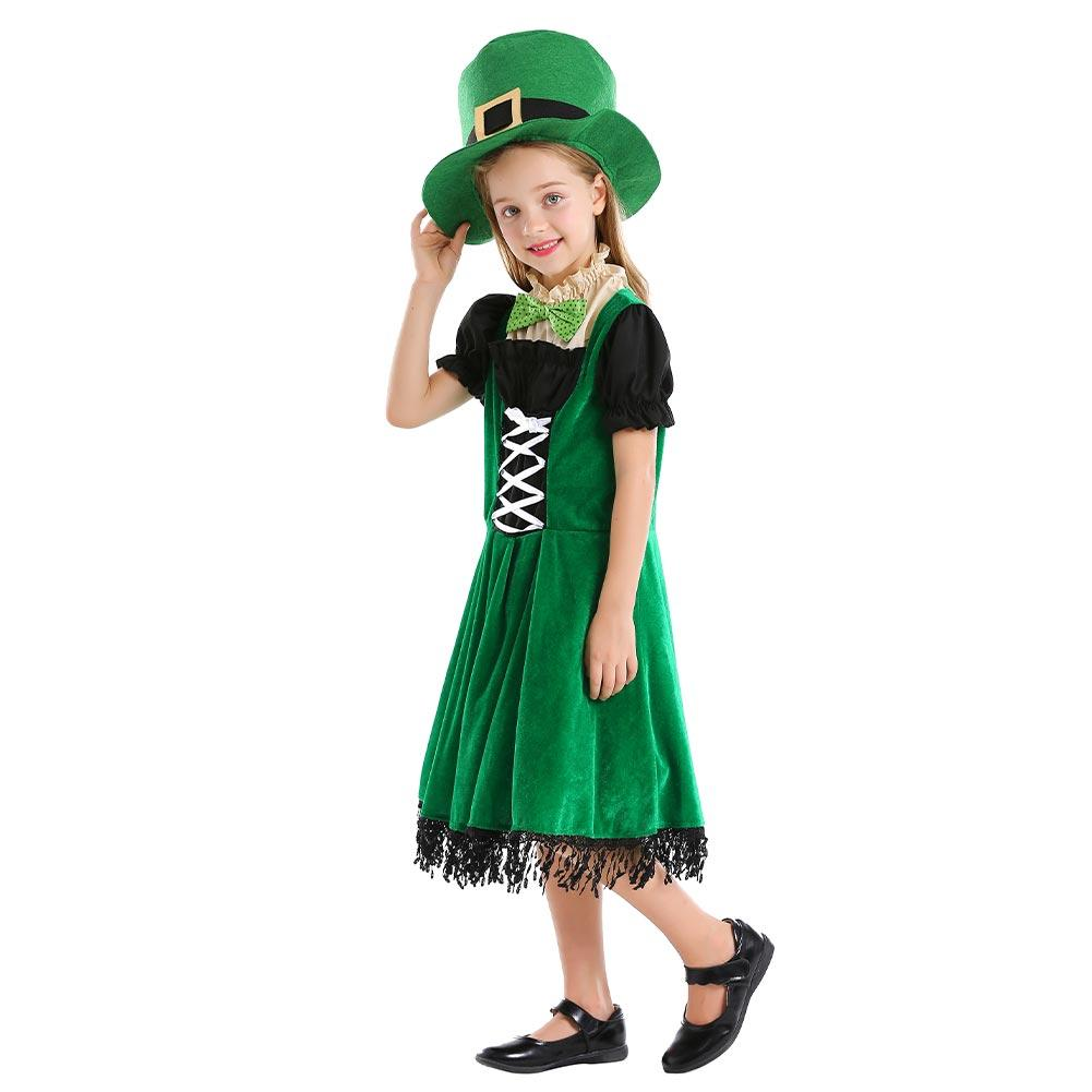 Kids Girls Irish Family Group Dwarf Costume Children Halloween Carnival Elf Outfit Hat Dress Suit