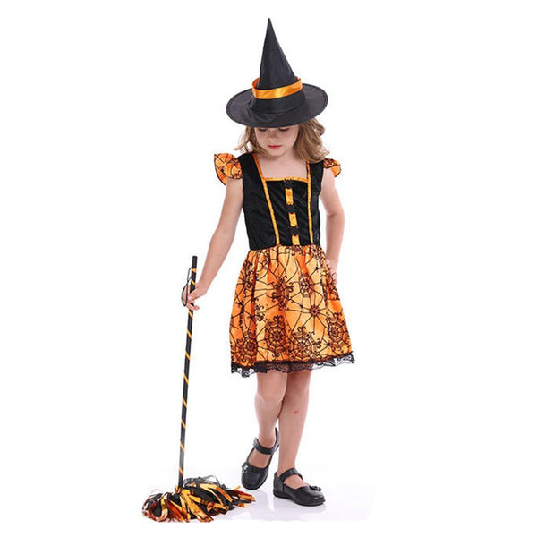 Kids Halloween Party Princess Costume Pumpkin Witch Cosplay Dress Children Girls Party Dress Clothing