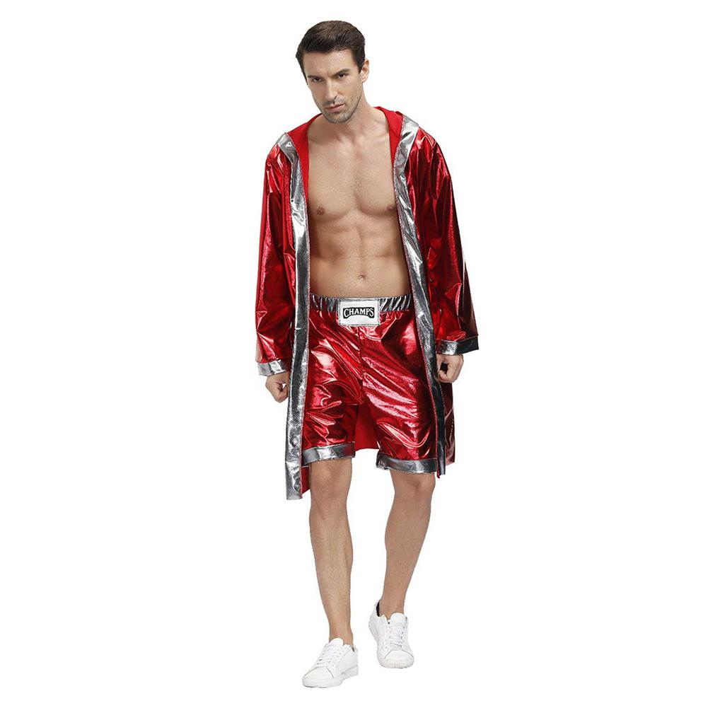 Men Halloween Red Boxing Boxer Robe Fantasia Purim Cosplay Costume Party Carnival Fancy Dress