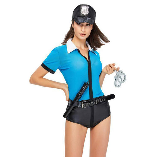 Women Modern Blue Sexy Policewoman Official Cosplay Costume for Halloween Costumes Jumpsuit