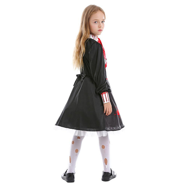 Kids Girls Horror Doll Costume Gothic Bloody Zombie Scary Costume Halloween Masquerade Party Cosplay Costume