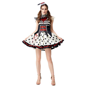 Women Halloween Costume Striped Wave Dot Horror Bloody Clown Cosplay Tutu Skirt Circus Zombies Dress