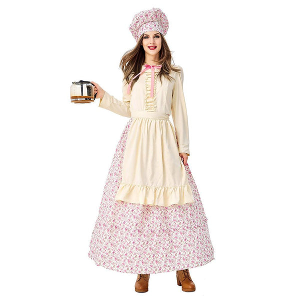 Adult Women Prairie Pioneer Costume Colonial Dress Floral Halloween Purim Carnival Party Cook Maid Costumes