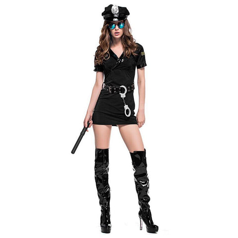 Women Halloween Sexy Black Policewoman Costume Game Uniforms Role-playing Outfits Cosplay Fancy Clothes