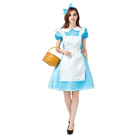 Women Halloween Medieval Maid Dress Country Style Farm Maid Cosplay Costume with Hat and Apron