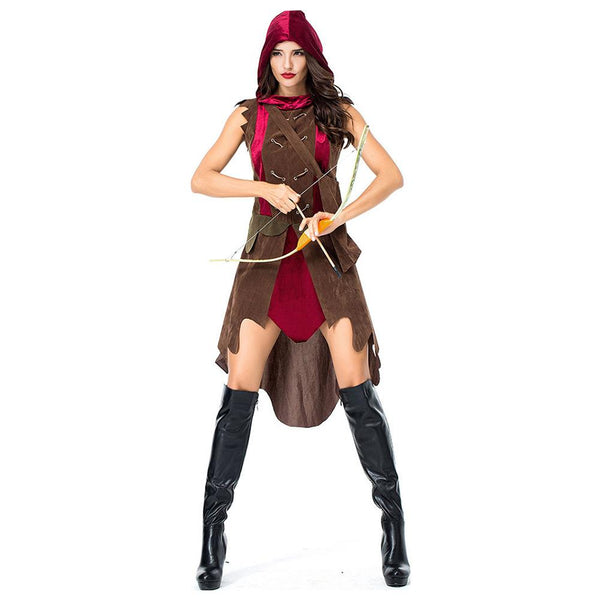 Women Halloween Warrior Hunter Archer Cosplay Costume Carnival Purim Parade Masquerade Nightclub Dress