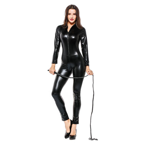 Adult Women Halloween Leather Jumpsuit Nighty Hot Sexy Catwoman Catsuit Black Cat Costume