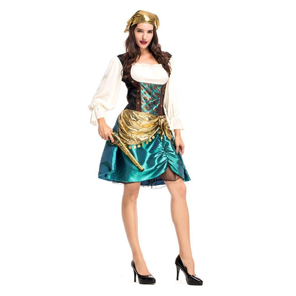 Women Halloween Sexy Caribbean Captain Pirate Costumes Adult Female Warrior Fancy Dress Cosplay Carnival Costume