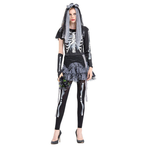 Women Halloween Horror Ghost Cosplay Costume Dead Corpse Zombie Bride Skeleton Frame Ghost Bride Costume