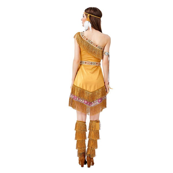 Women Halloween Primitive Indian Costumes Female Warrior Cosplay Carnival Purim Masquerade Nightclub Dress