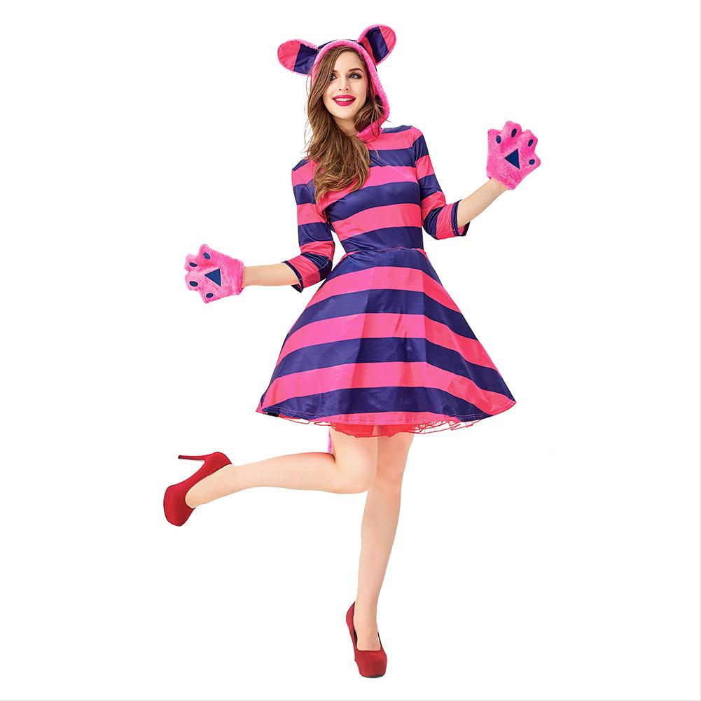 Women Halloween Purple Cheshire Cat Costume Outfit Clothes Alice in Wonderland Cosplay Masquerade Fancy Dress