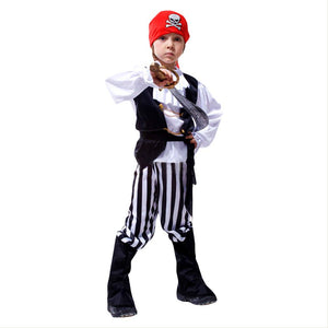 Kids Boys Caribbean Pirate Cosplay Costume Halloween Carnival Fancy Dress Children Boys Cosplay Clothes