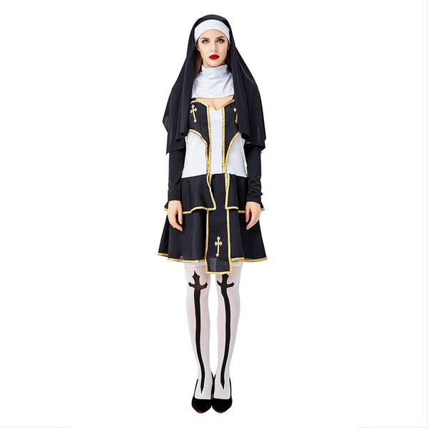 Women Halloween The Virgin Mary Nun Cosplay Costume Fantasia Masquerade Party Fancy Dress Outfit