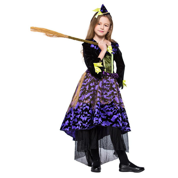 Kids Girls Halloween Bat Witch Costumes Magician Sorceress Cosplay Carnival Purim Stage Show Party Dress