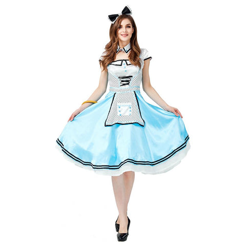 Women Alice in Wonderland Costume Adult Alice Cosplay Costume Blue Fancy Dress Fantasy Halloween Costumes