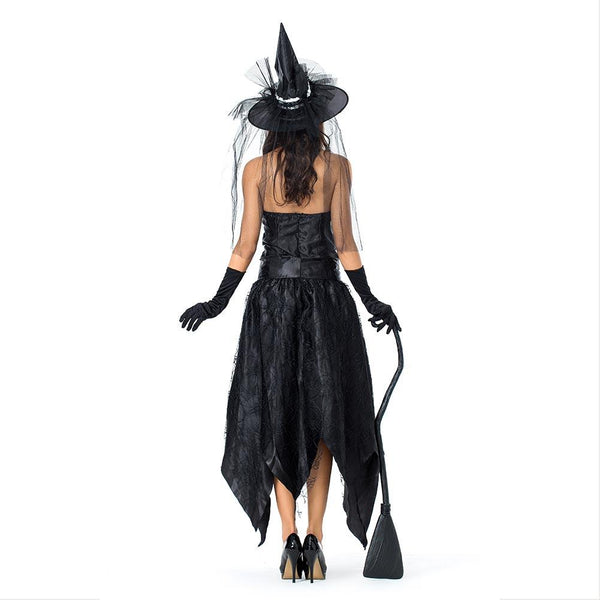 Women Gothic Sorceress Cosplay Female Halloween Black Witch Costume Carnival Masquerade Nightclub Party Dress