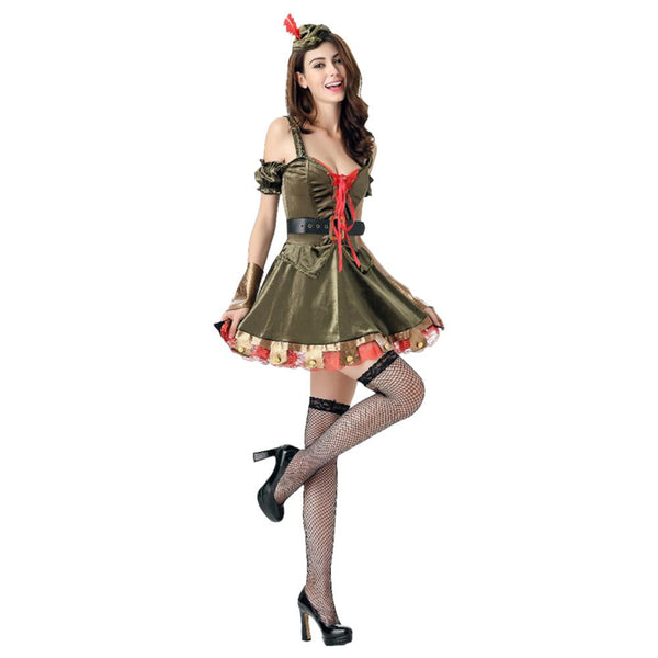 Women Halloween Sexy Green Robin Super Hero Pirate Costume Dress Medieval Throne Party Fancy Cold Shoulder Dress