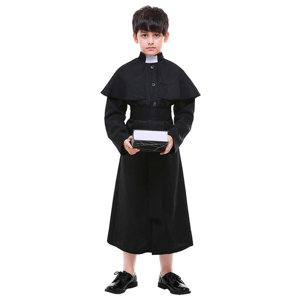 Kids Boys Purim Priest Father Monk Halloween Costume European Religion Jesus Christ Cosplay Carnival Party Outfit