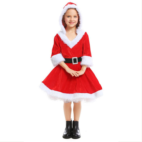 Girls New Year Christmas Miss Santa Claus Cosplay Costume Kids Red Velvet Christmas Princess Dress