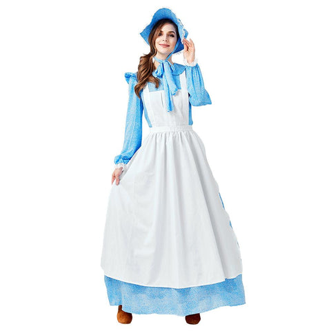 Women Halloween Victorian Maid Fancy Dress Pioneer Colonial Peasant Lady Fancy Dress