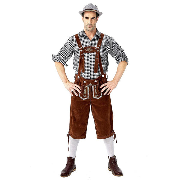 Men Oktoberfest Costume Plaid Shirt Lederhosen Outfit Halloween Cosplay Parade Stage Show Fancy Party Dress