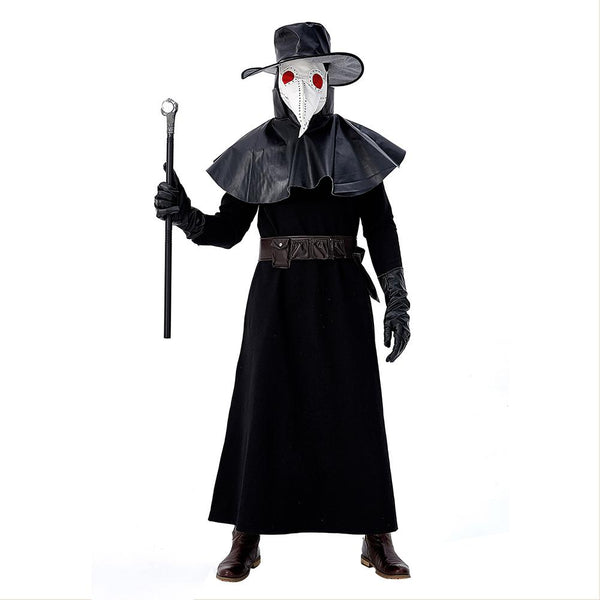 Men Halloween Plague Doctor Cosplay Costume Steampunk Medieval Hooded Robe Dr. Plague Costume Adult Fancy Dress