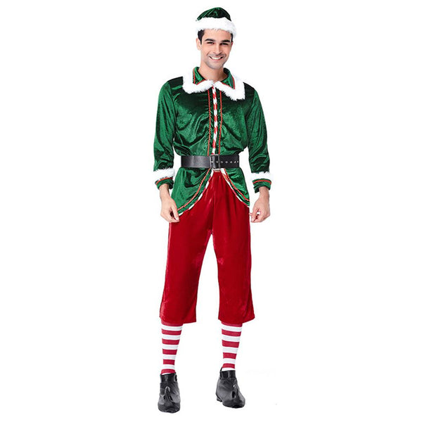 Men Classic Red Green Merry Christmas Uniforms Festive Elf Couples Costume Santa's Helper Costumes Clothes