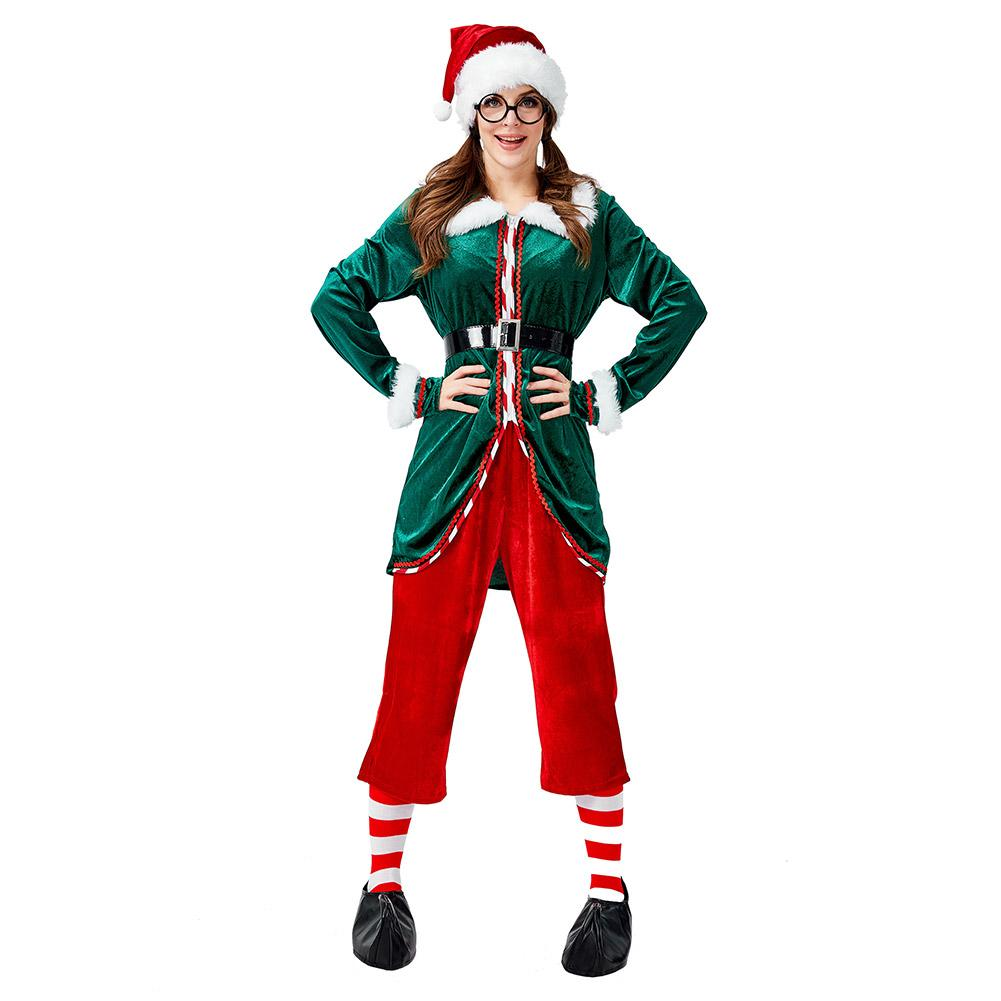 Women Deluxe Green Christmas Elf Cosplay Costume Halloween Christmas Costume For Adult Carnival Party Suit