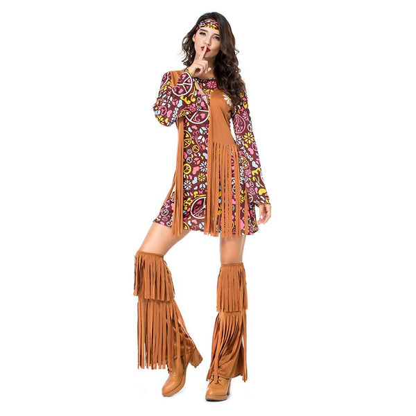 Women Tassels Hippie Costumes Vintage 70s Indian Halloween Costumes Dance Performance Holiday Outfit